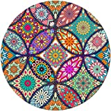 BOSOBO Mouse Pad, Round Mandala Mouse Mat, Cute Mouse Pad with Design, Non-Slip Rubber Base Mousepad with Stitched Edge, Waterproof Office Mouse Pad, Small Size 7.9 x 7.9 x 0.1 Inch, Mandala Colour