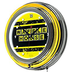 Waffle House Vintage Chrome Double Ring Neon Clock