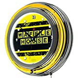 Waffle House Vintage Chrome Double Ring Neon Clock For Sale