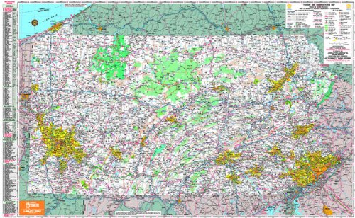 36x50 Pennsylvania State Official Executive Laminated Wall Map
