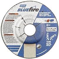 "Norton Blue Fire Plus Depressed Center Abrasive Wheel, Type 27, Zirconia Alumina and Aluminum Oxide, 7/8"" Arbor, 4-1/2"" Diameter x 1/8"" Thickness (Pack of 25)"