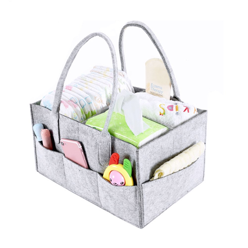 Chen0-super Felt Diaper Storage Bag Newborn Travel Multi Pocket Basket Purpose Nursery Tote For Diapers Wipes Toys| Travel| Great Gift New Parents Registry Baby Shower Idea|Felt Grey Adjustable