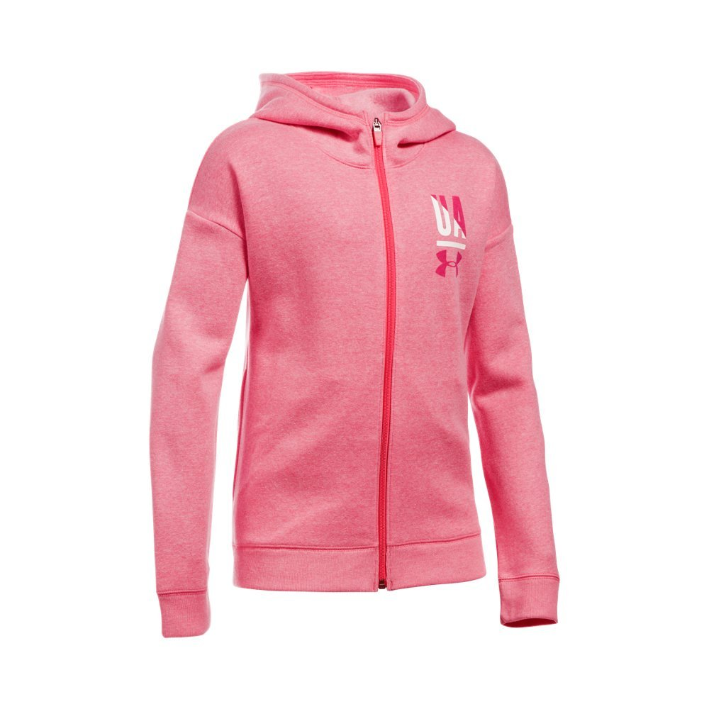 Under Armour Girls' Favorite Full Zip Hoodie, Gala Light Heather (692)/Honeysuckle, Youth Small