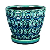 ATT SOUTHERN Southern Patio 8″ Ceramic Planter, Sea Foam Green (Pack of 2)