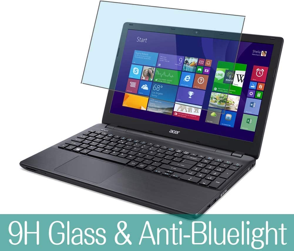 """Synvy Anti Blue Light Tempered Glass Screen Protector for Acer Aspire E5-571 / E5-571G / E5-571P / E5-571PG 15.6"""" Visible Area 9H Protective Screen Film Protectors (Not Full Coverage)"""