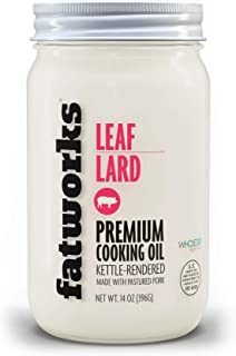 """product image for Fatworks, Pasture Raised Leaf Lard, a.k.a. """"Baker's Lard"""", Artisanally Rendered, for Traditional & Gourmet Baking, Sauteeing, Frying, WHOLE30 APPROVED, KETO, PALEO,14 oz."""