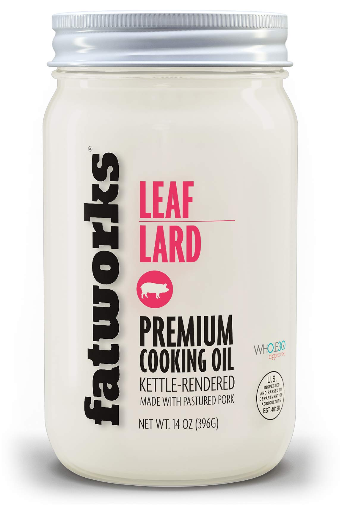 """Fatworks, Pasture Raised Leaf Lard, a.k.a. """"Baker's Lard"""", Artisanally Rendered, for Traditional & Gourmet Baking, Sauteeing, Frying, WHOLE30 APPROVED, KETO, PALEO,14 oz."""