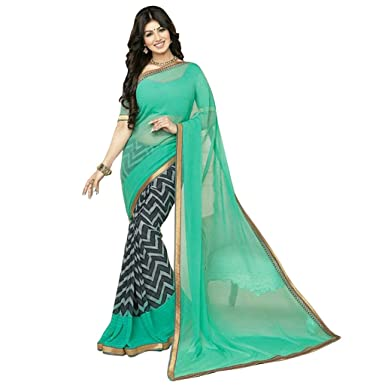 1c1533aa1d Branded Ayesh Saree For Women Party Wear quality Fabric Low Price Georgette Sky  Blue Printed Dhupiyan