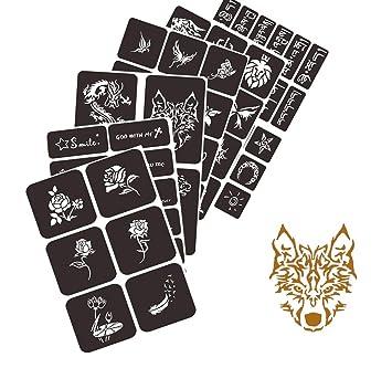 Amazon Com Henna Tattoo Stencil Kit Glitter Tattoo Kit Temporary