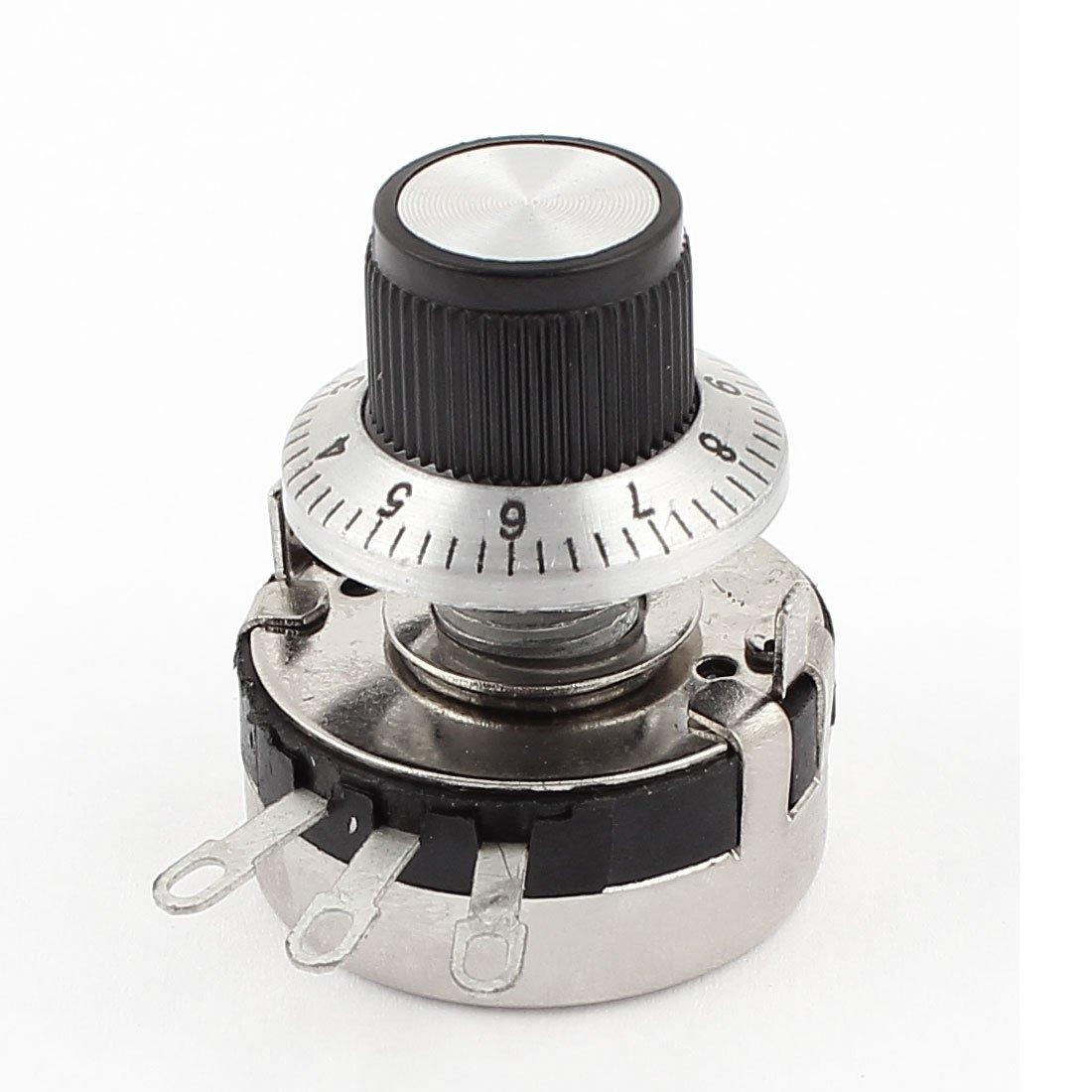 sourcing map WTH118-2W 10K ohm Rund Schaft Carbon Lineare Variation Potentiometer mit Dial Knopf DE de