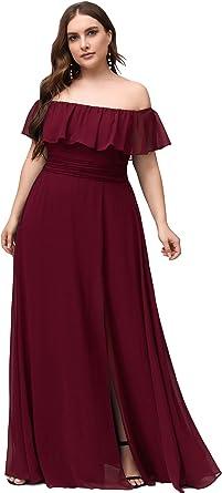 Amazon Com Ever Pretty Women S Plus Size Off Shoulder Side Split Chiffon Maxi Dress 0968pz Clothing