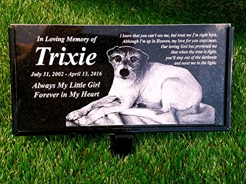 - Granite Stone and Stand Marker Personalized with Picture of Choice/Text of Choice Animal or Person Human Temporary Marker Family Laser Engraved Tombstone Cemetery Grave Stone