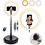 SHANSHUI 11.4'' Selfie Ring Light with Stand and Phone Holder, One-Piece Design USB Powered LED Circle Ring Light 3 Color Mod