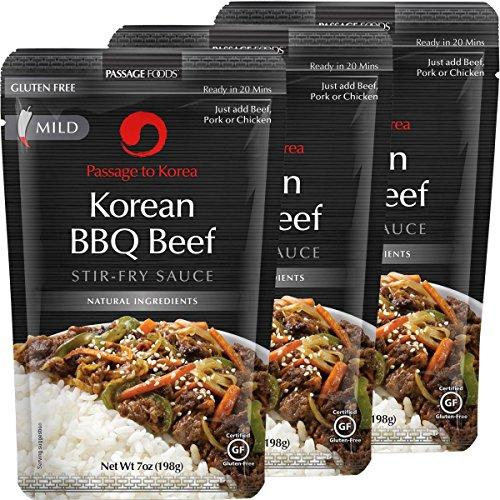 Passage Foods To Korea, Korean Bbq Beef Stir Fry Sauce, 7 Ounce, 3 Count by Passage Foods
