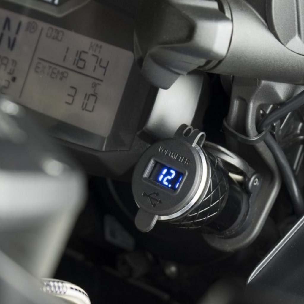 JENOR Voltm/ètre De La Prise 4.2A Du Chargeur DIN USB De Moto En Aluminium Double Pour La Moto De BMW