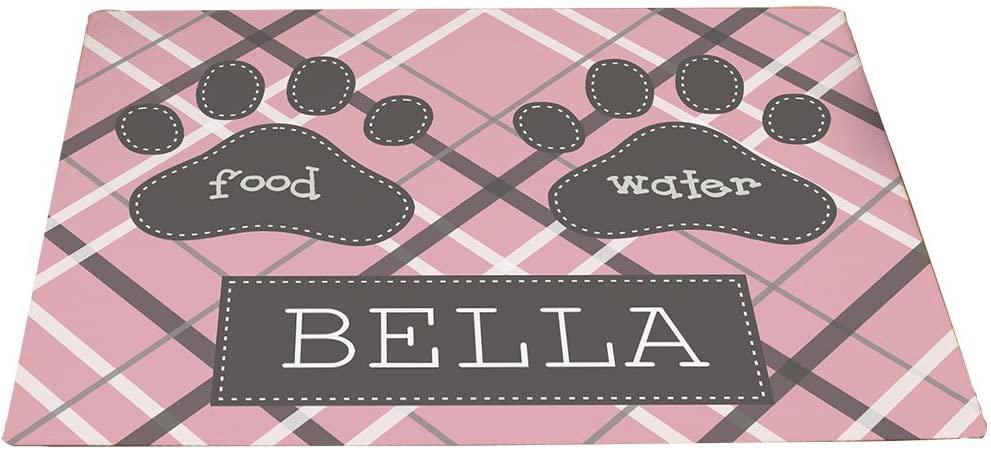 GiftsForYouNow Plaid Personalized Pet Feeding Mat