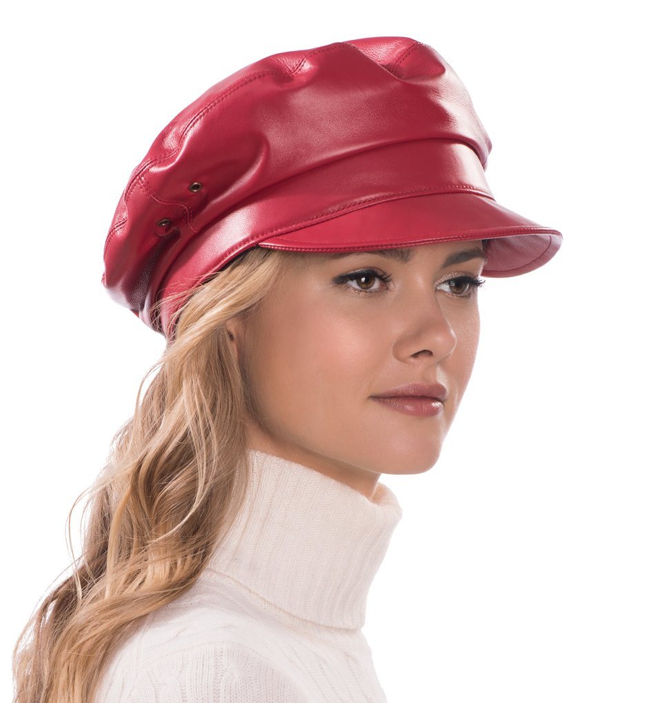 Eric Javits Luxury Fashion Designer Women's Headwear Hat - Night Porter Leather - Red