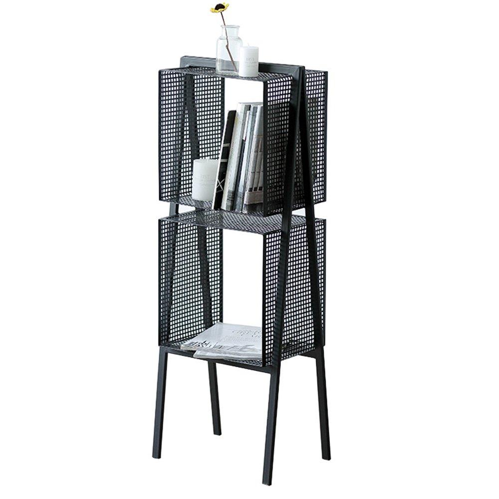 ZZHF yushizhiwujia Bastidores de almacenamiento Nordic Iron Art Estantes de almacenamiento de metal Living Room Black Bookcase Kitchen Bathroom Rack de ...