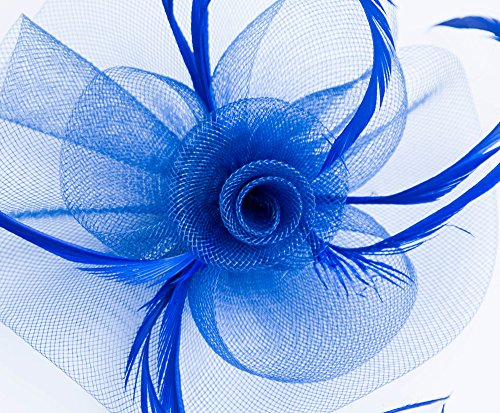 Kathyclassic Fascinator Hats for Women Feather Cocktail Party Hats Bridal Kentucky Derby Headband (Z-Royal Blue) by Kathyclassic (Image #5)