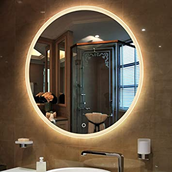 Amazoncom Bathroom Mirror Led Illuminated Round Lighted