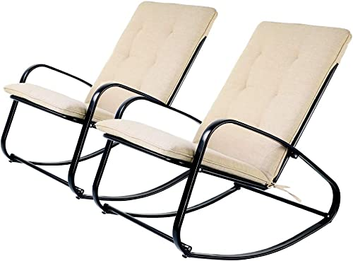 OC Orange-Casual Rocking Chair with Olefin Cushion Outdoor Indoor, Black Set of 2