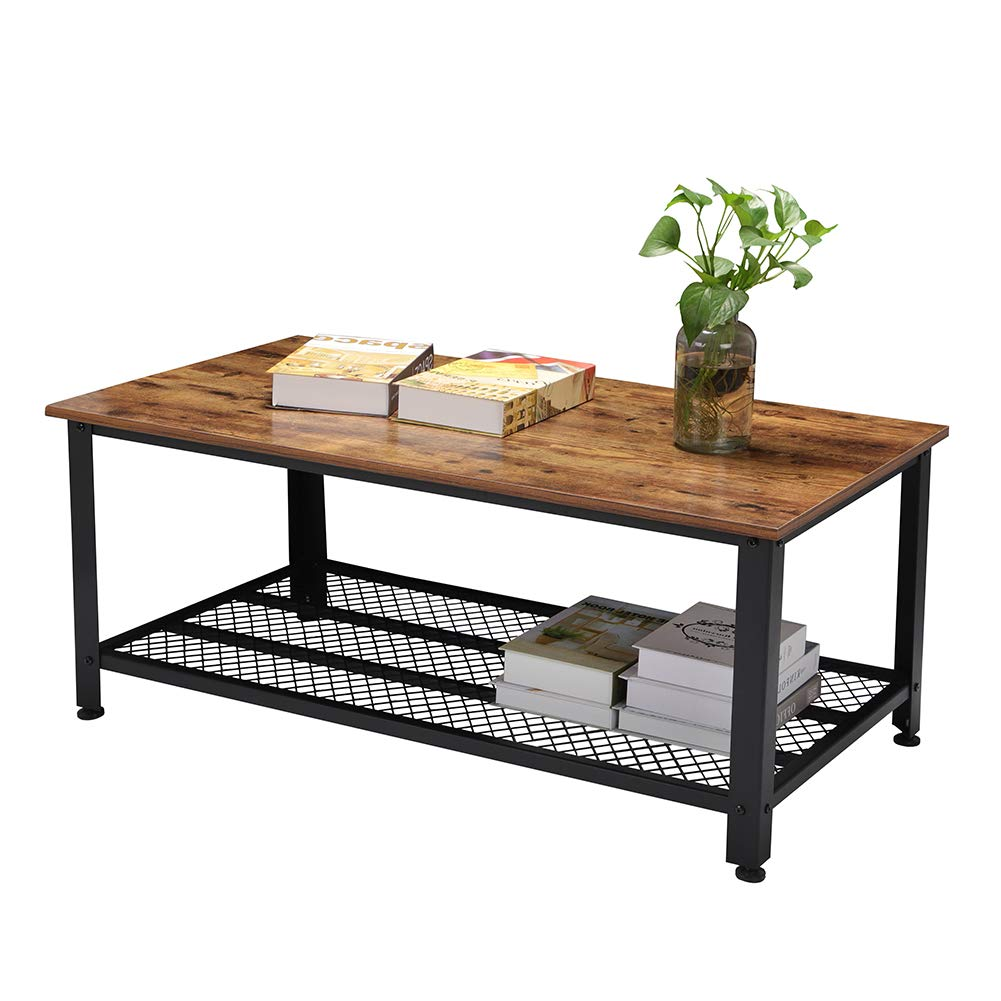 Rustic Coffee Table, Industrial Sofa Table Vintage Cocktail Wood End Table with Storage Shelf and Metal Frame for Home Living Room, Easy Assembly by Ejoyous