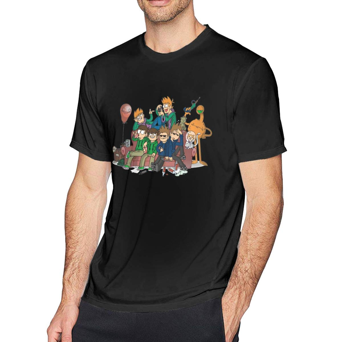 GekhHaon EddsWorld MansShort Sleeve T-Shirt Athletic Cool Running Top T-ShirtBlack