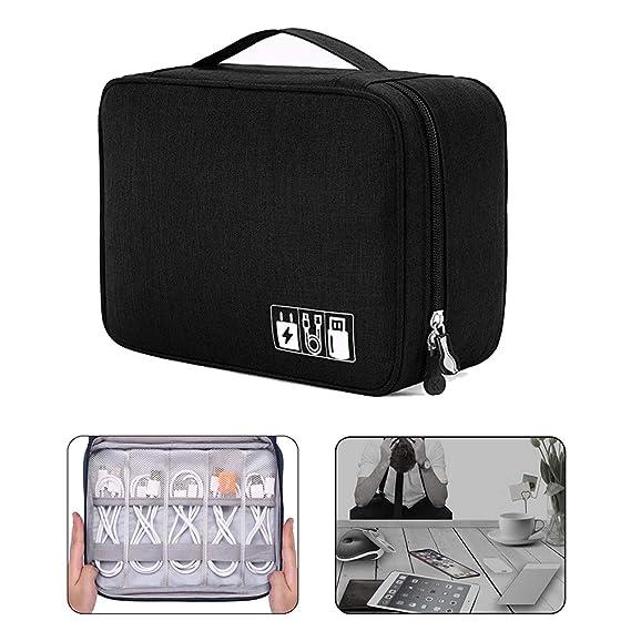 QearFun Bolsa de Viaje Cables Organizador Electrónica Accesorios Estuches Bolsa de Transporte Caja Organizador de Cables iPad, Kindle, Cables, ...