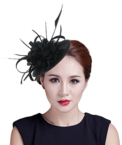Lukis Women Bridal Fascinator Flower Hat Feather Head Clip For Party Wedding  Brooch Pin Black 083009dc786