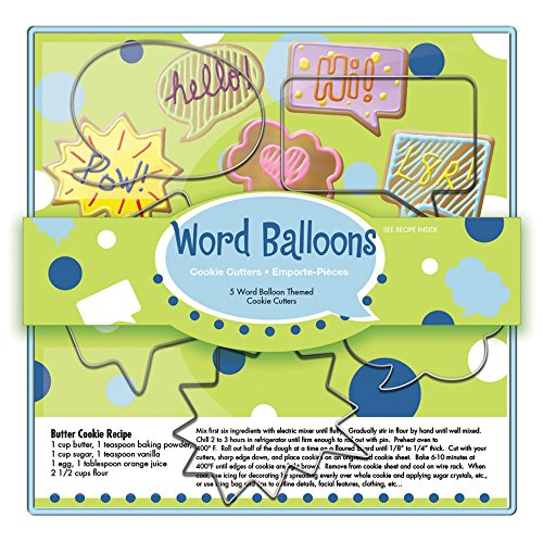 Fox Run 36037 Word Balloons Cookie cutters, 5 x 7.25 x 1 inches, Metallic (Cutters Cookie Conversation)