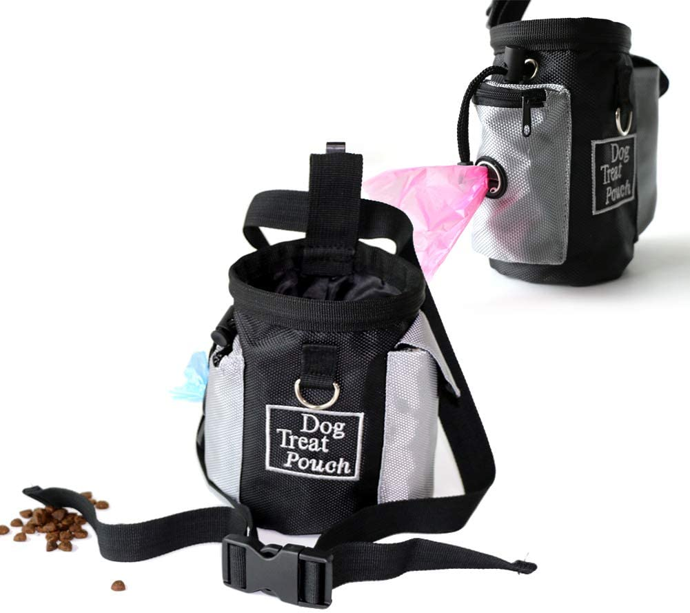 Dog Treat Pouch Training Bag with Adjustable Waist Strap Poop Bag Dispenser Enough to Carry Treat Kibble Pet Toys