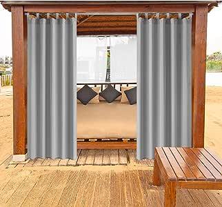 Cortinas para Exteriores Arbor Balcón Cortinas con Cierre de Velcro Cortinas Opacas Cortinas Impermeables Resistente al Moho para Pavilion Beach House 1 Pieza, 132x215 cm, Gris: Amazon.es: Jardín