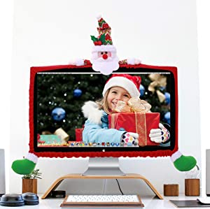 Tieesa Cute Christmas Laptop Monitor Dust Cover Christmas Decoration for Computer LCD Screen 19 inch 27 inch Dustproof Protector Christmas Family Decorations (Santa Claus Red)