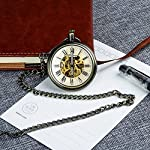 Retro Pocket Watch for Mens Wooden Open face Steampunk Skeleton Mechanical with Chain + Box 13