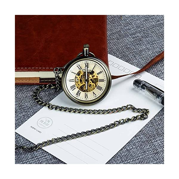 Retro Pocket Watch for Mens Wooden Open face Steampunk Skeleton Mechanical with Chain + Box 7