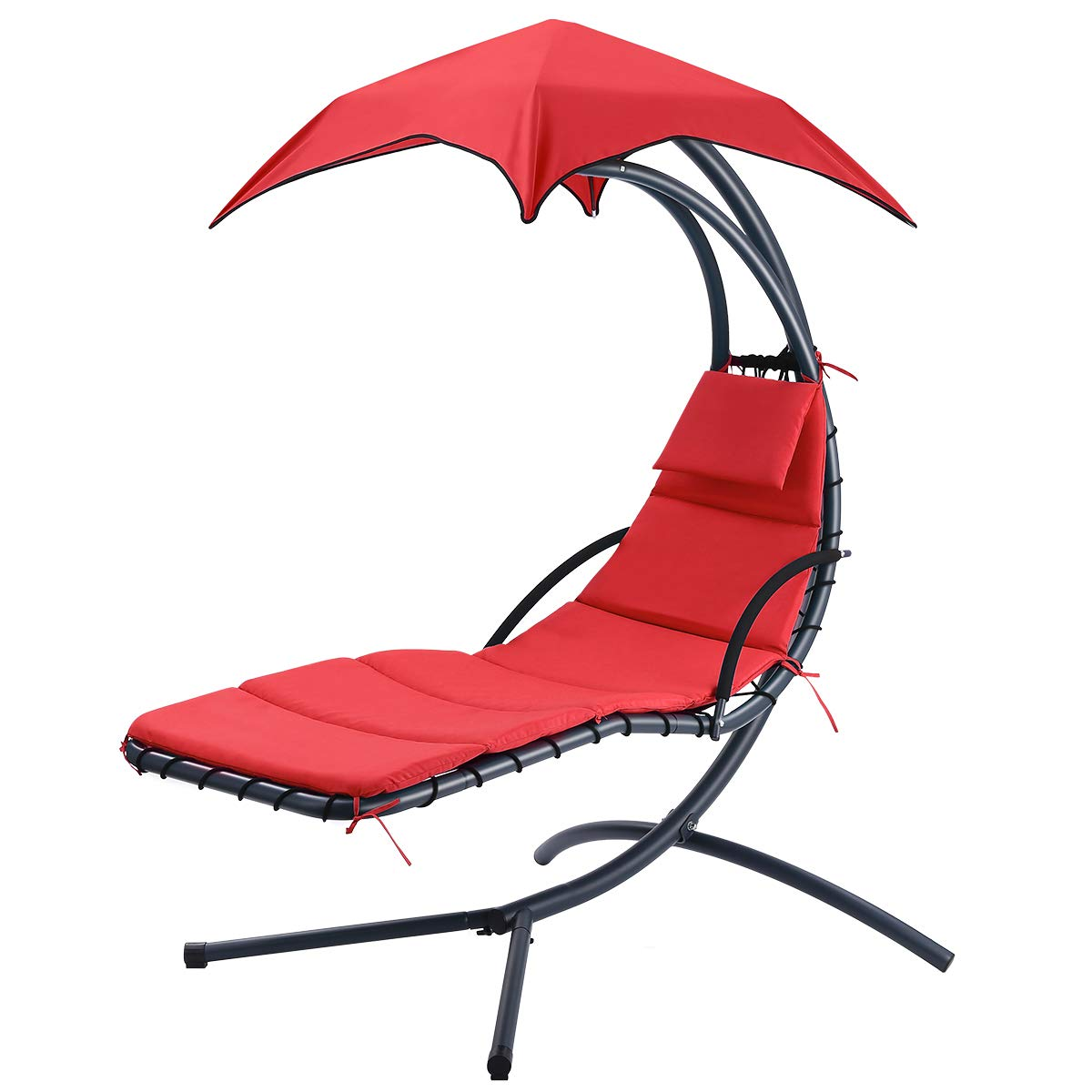 Finether Hammock Chair 275 lbs Load Outdoor/Indoor Hanging Chaise Lounge Chair Garden Patio Hanging Swing Chair with Arc Stand, Canopy and Cushion (Red)