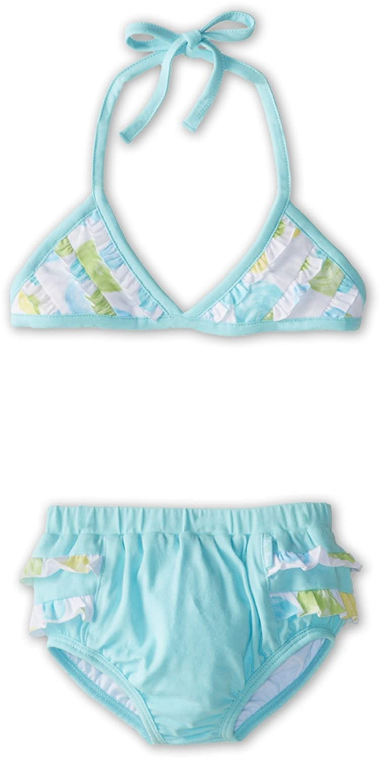 le top Girls Confetti Bikini w// Ruffled Top Little Kids Toddler//Little Kids Aquamarine Swimsuit Set 4