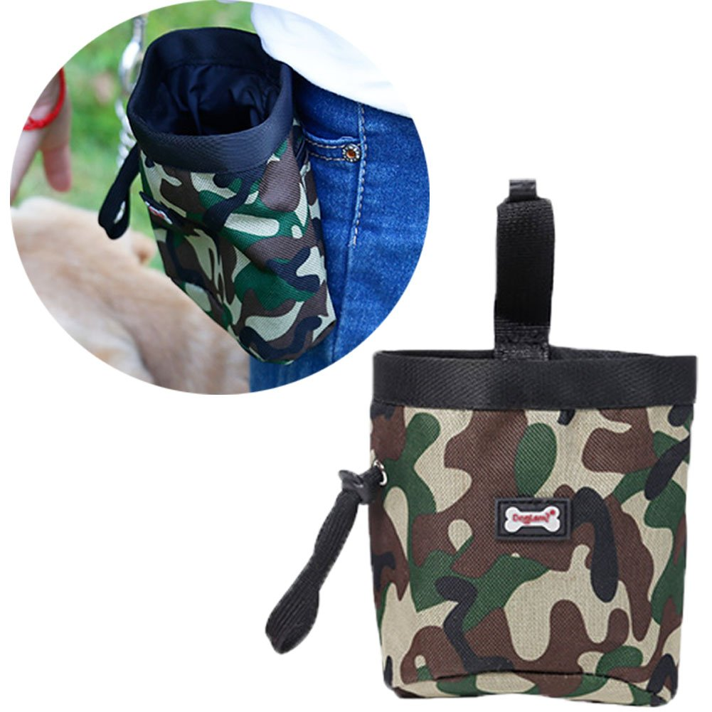 Dog Treat Training Pouch Bag,Snack Reward ,Waist Pocket Pet Feed Pouch, Carry Treats Toys, Poop Bag Dispenser(Green)