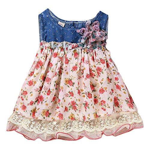 [Ma&Baby Baby Girls summer Dress Denim Chiffon Flower Girls Kids Dresses Clothes (0-6 Months)] (Dance Costumes Ma)