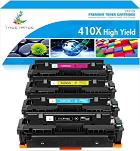 True Image Compatible Toner Cartridge Replacement for HP 410X 410A M477fnw HP Color Laserjet Pro MFP M477fdw M477fdn M452dw M452dn M452nw M452 M477 Toner Cartridge (Black Cyan Yellow Magenta, 4-Pack)