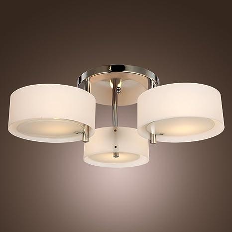 YANCEN 3 Lights Chandeliers Lighting Modern Flush Mount Ceiling Light  Fixture Acrylic Pendant Lamp Chrome Finish