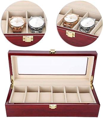 TMISHION Caja de Relojes con 6 Compartimientos, Reloj de Madera Caja de Almacenamiento, Moda Laca Caja para Relojes de Madera Estuche para Relojes y Joyeros para Hombres y Mujers, Tapa de Vidrio: