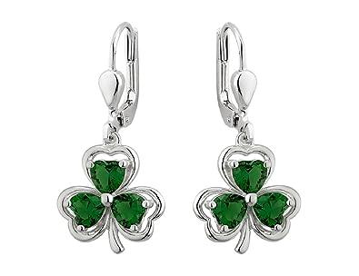 da01ebdec Amazon.com: Irish Shamrock Earrings Sterling Silver & Green Crystal ...