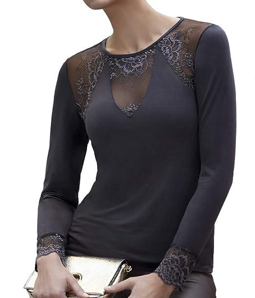 JANIRA Camiseta con Encaje Greta M L CP - Negro 4b9191252cee