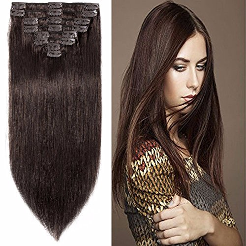 Standard Weft 13 Inch 80g Dark Brown Clip in 100% Real Remy Human Hair Extensions 8 Pieces 18 Clips ()