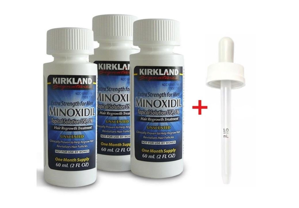 Kirkland Minoxidil 5% Topical Solution Extra Strength Hair Regrowth Treatment for Men Dropper Applicator Included (1 month to 24 month supplies available) (9 month supply) : Beauty
