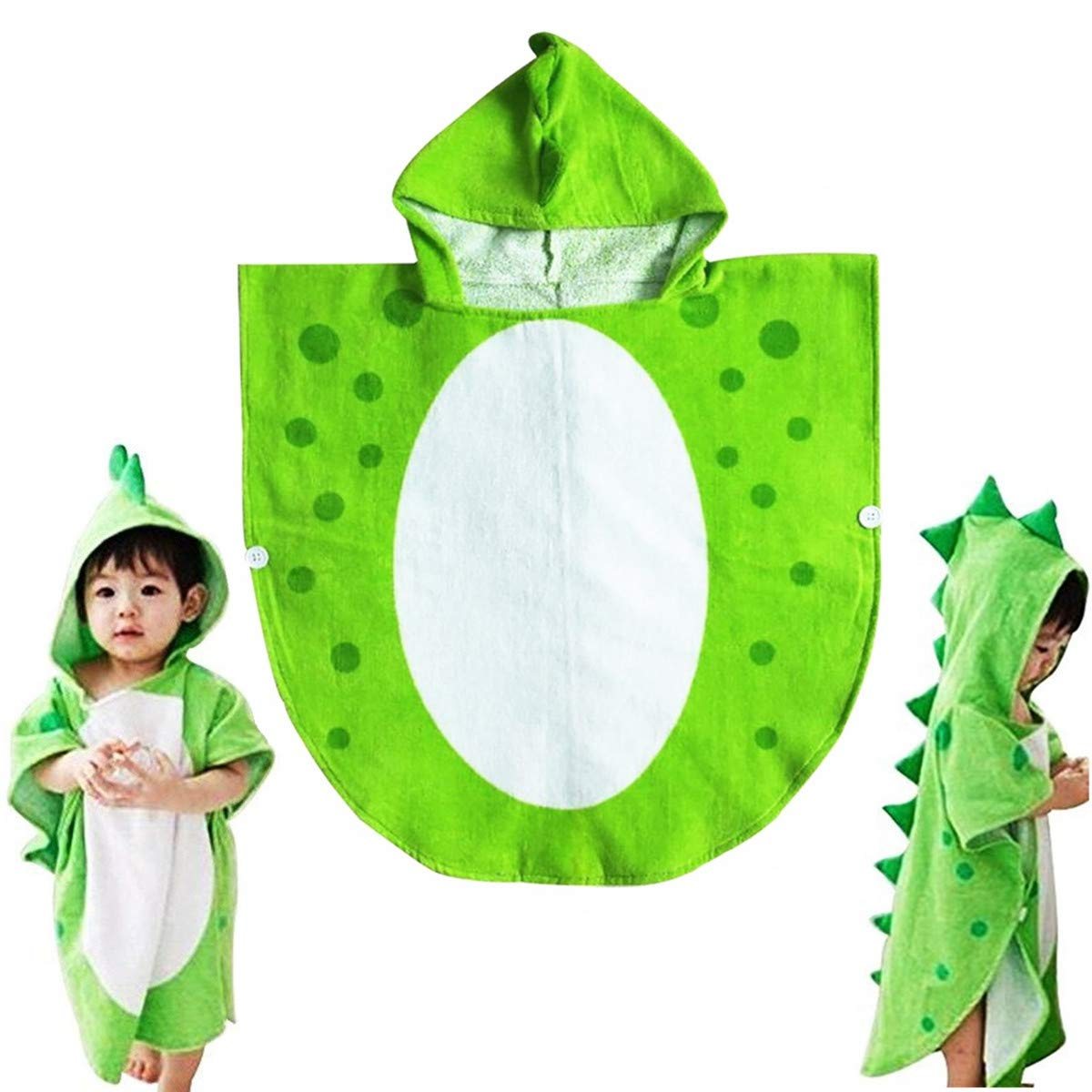 Children Bath Towel Robe Kids Poncho Towel Swimming Poncho Dinosaur Pattern (Large, 65cm*135cm) JFCOOL