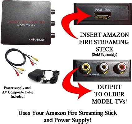 HDMI a AV compuesto convertidor para Amazon Fire Streaming Stick: uso Amazon Fire Streaming Stick con televisores antiguos que han compuesto (rojo/blanco/amarillo) entradas. [Nota: Amazon Stick se vende por separado]: Amazon.es: Amazon.es