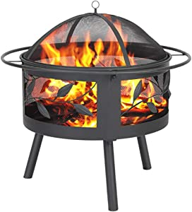 Fire Pits Outdoor Wood Burning Grill - Steel BBQ Firepit Bowl with Mesh Spark Screen Cover Log Grate Wood Fire Poker for Camping Picnic Bonfire Patio Backyard Garden Beaches Park