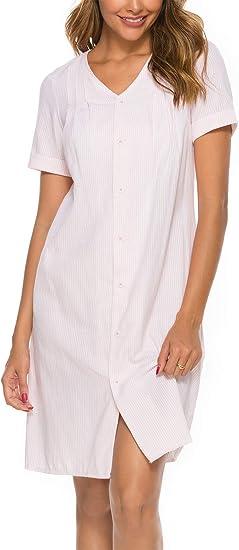 ABirdon Pigiama Cotone da Donna S-XXL Camicia da Notte da Donna Vestito Scollo a V Manica Corta